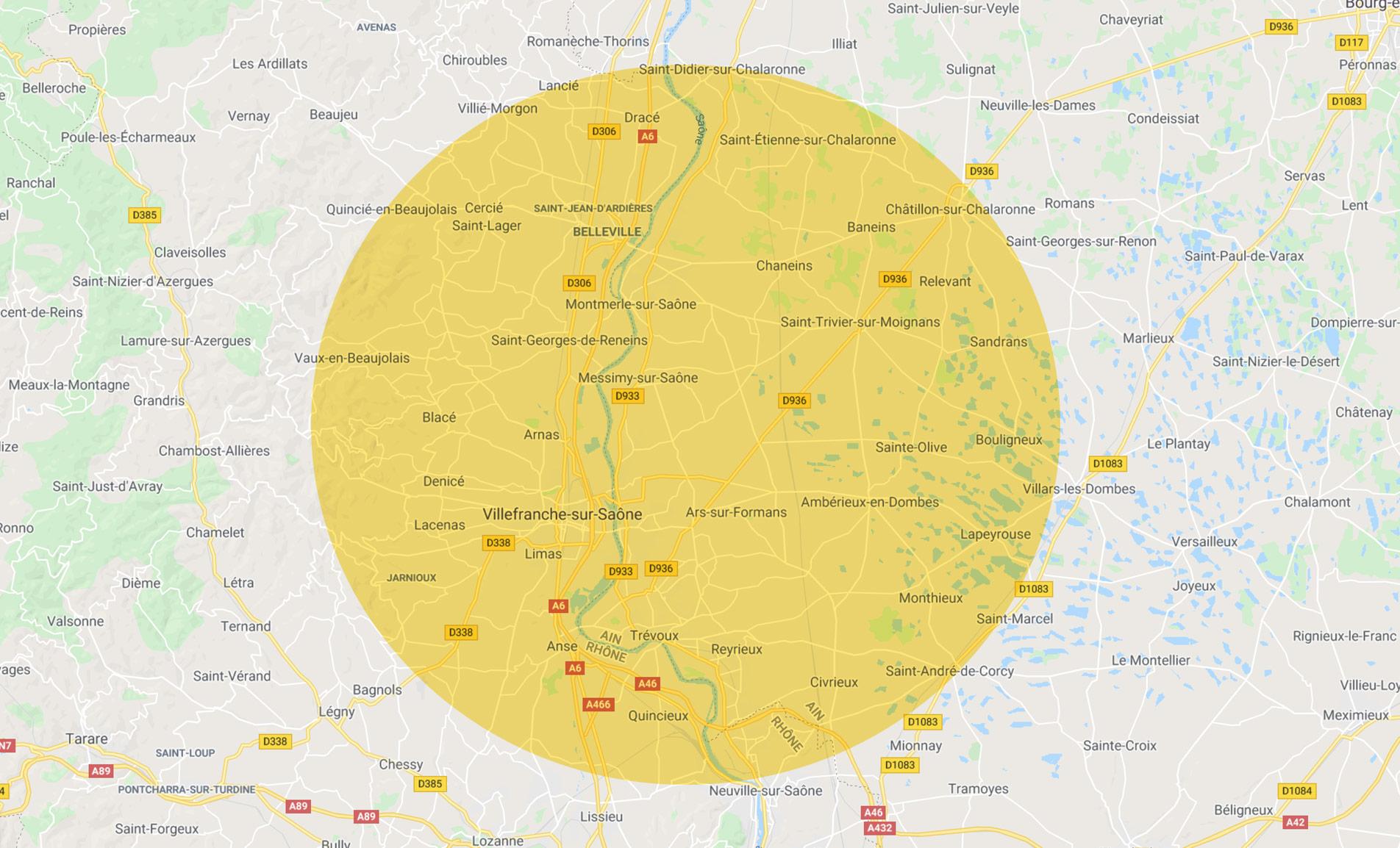 Carte - Zone d'intervention prioritaire - Ain Rhône Villefranche Belleville